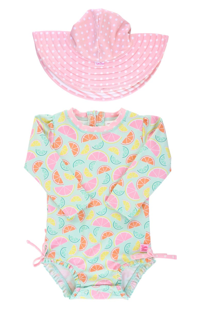 RUFFLEBUTTS Squeeze the Day One-Piece Rashguard Swimsuit & Reversible Sun Hat Set, Main, color, PINK