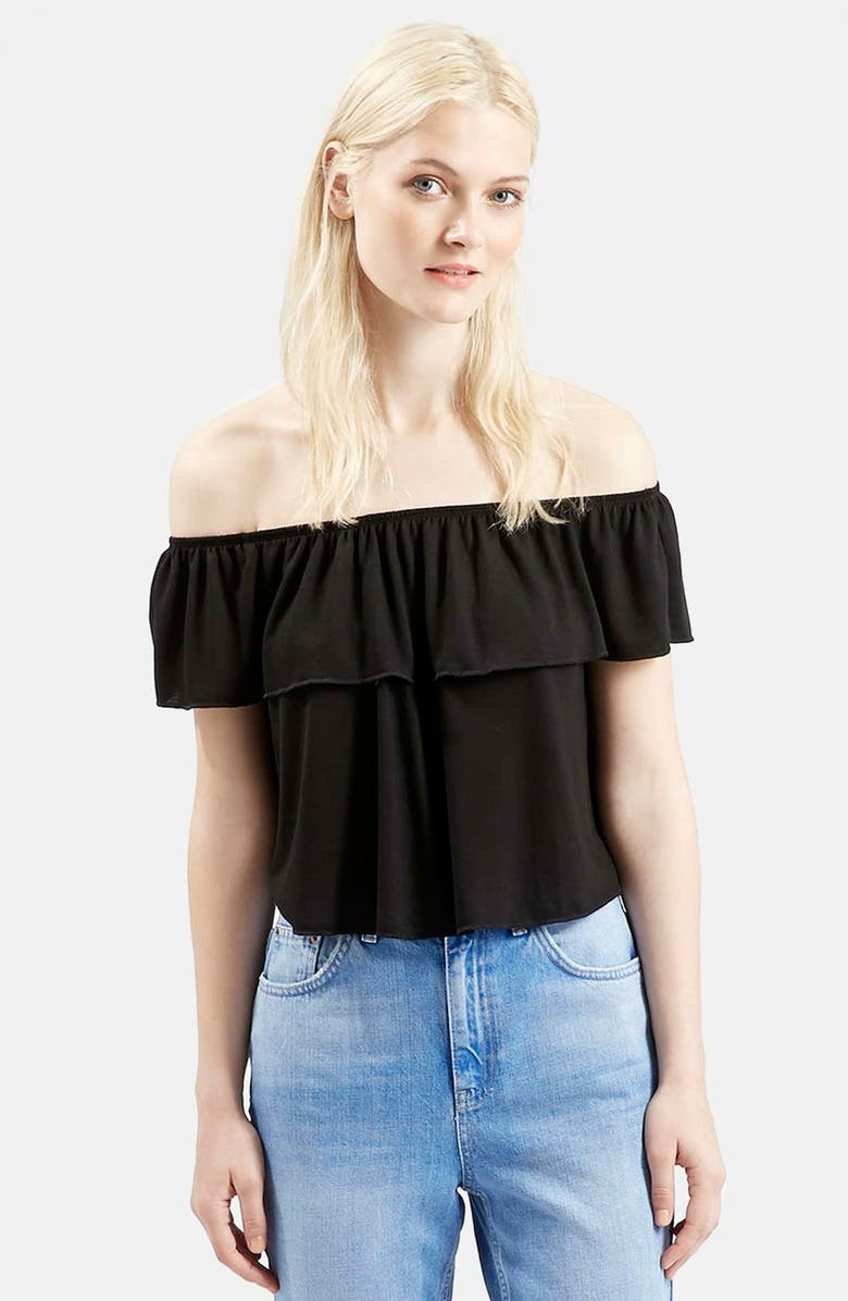 TOPSHOP Off the Shoulder Top, Main, color, 001