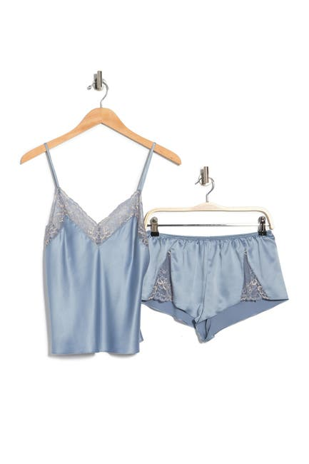Image of In Bloom by Jonquil Girl Lace Trim Satin Camisole & Shorts 2-Piece Pajama Set