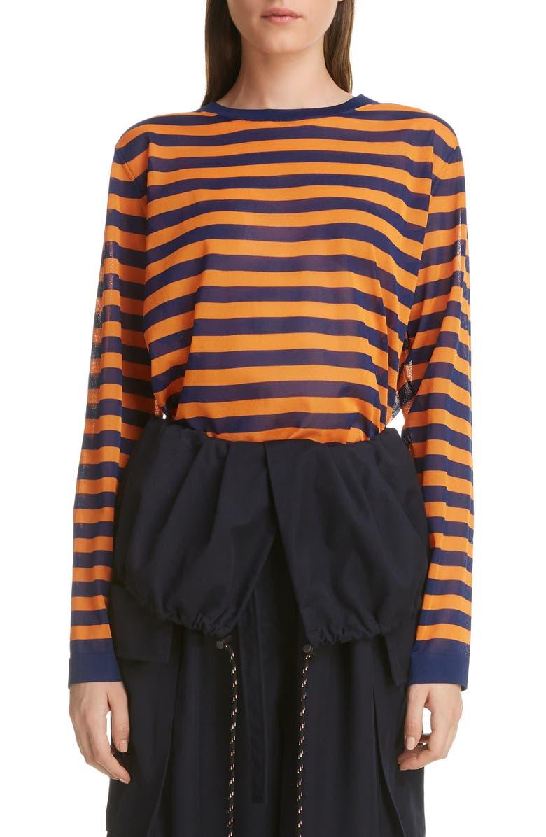 DRIES VAN NOTEN Nanou Sheer Stripe Sweater, Main, color, 400