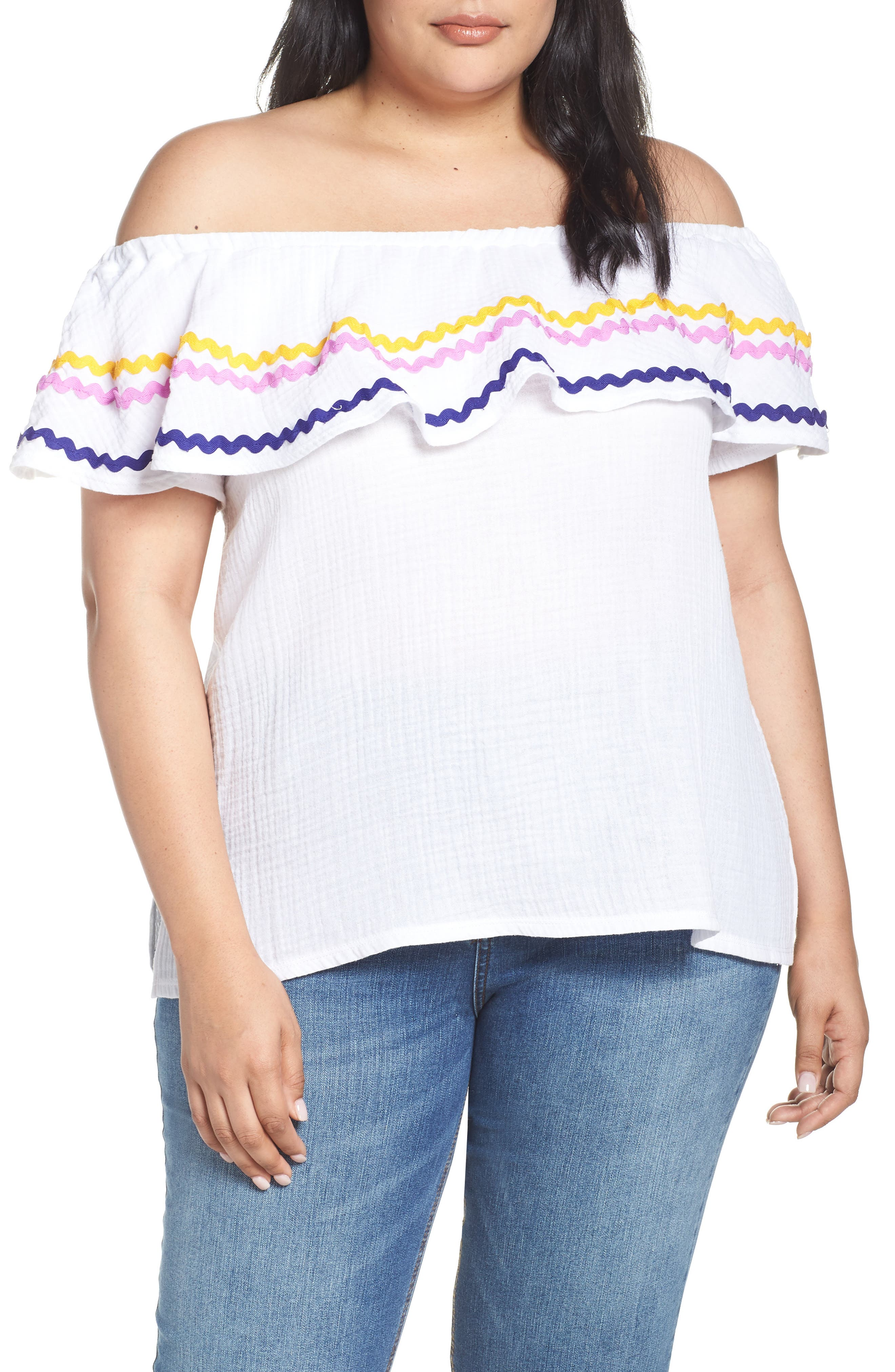 Plus Size Gibson X Hi Sugarplum! Santa Fe Rickrack Off The Shoulder Top, White (Plus Size) (Nordstrom Exclusive)