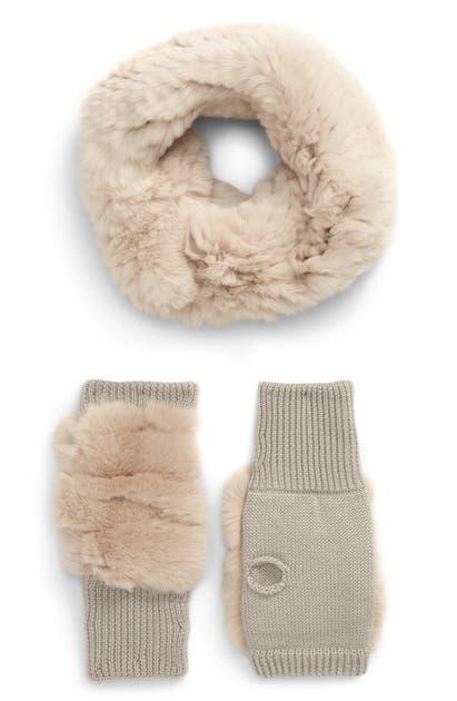 Jocelyn Genuine Rabbit Fur Cowl & Mitten Set In Tan