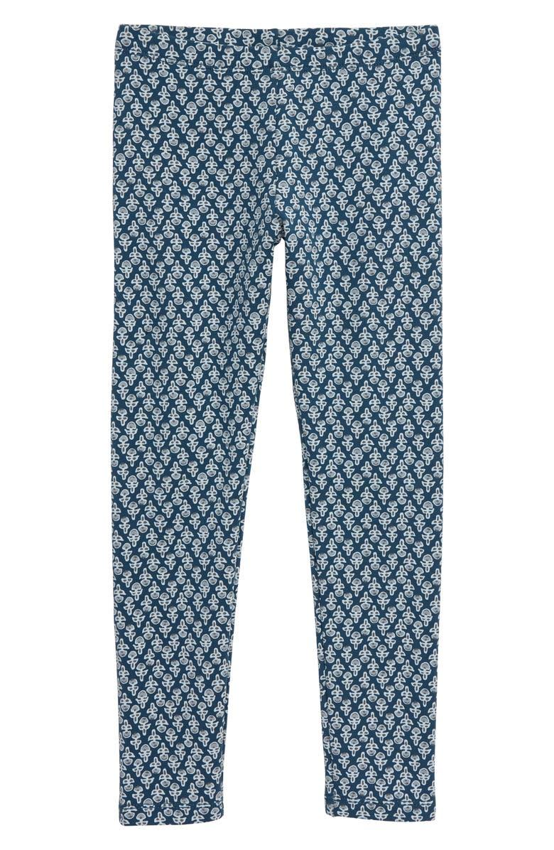 TEA COLLECTION Poppy Print Leggings, Main, color, POPPY BLOCKPRINT/ BEDFORD BLUE