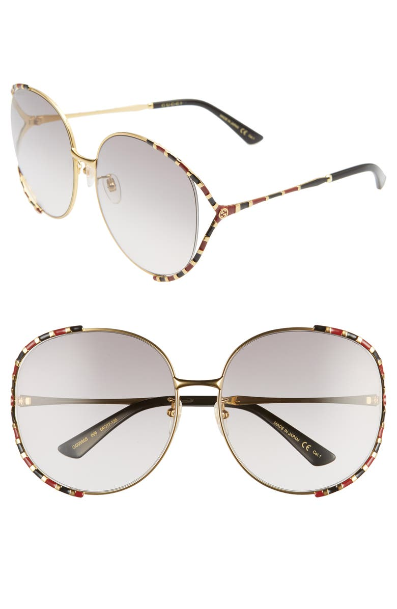 GUCCI 64mm Gradient Oversize Round Sunglasses, Main, color, 713