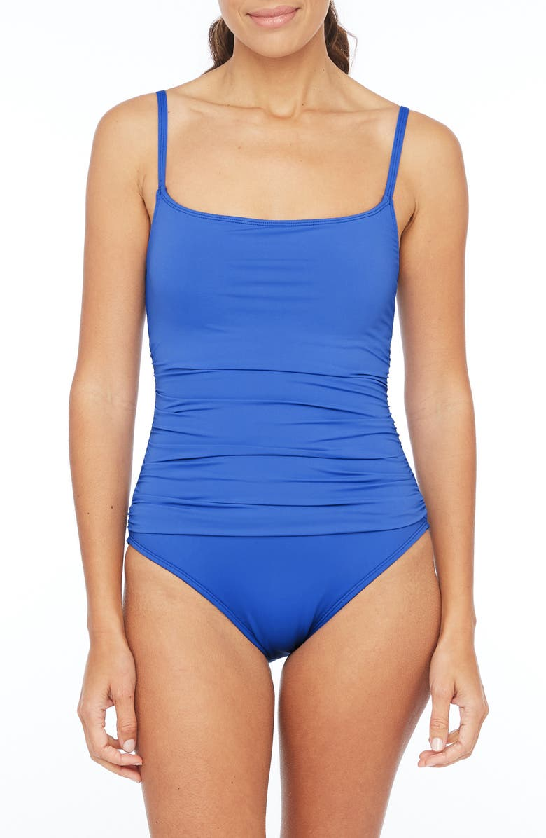LA BLANCA Island Goddess One-Piece Swimsuit, Main, color, CHINA BLUE