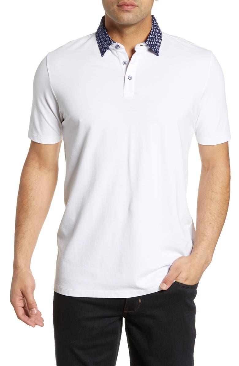 STONE ROSE Print Collar Polo, Main, color, WHITE