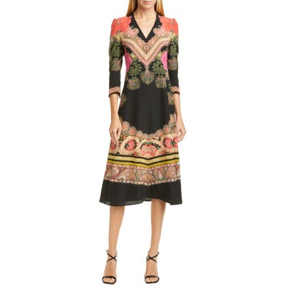 Etro Print Silk Fit & Flare Midi Dress, US / 42 IT - Black