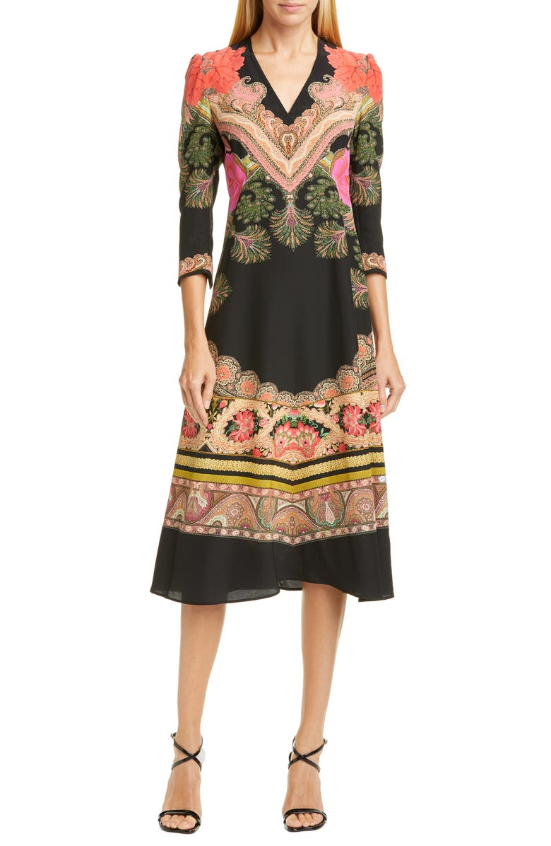 ETRO Print Silk Fit & Flare Midi Dress, Main, color, 001