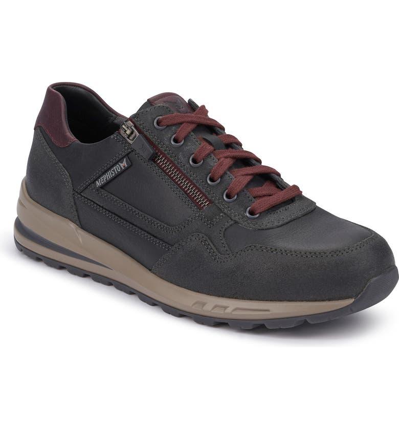 MEPHISTO Bradley Sneaker, Main, color, DARK GREY/ BLACK LEATHER