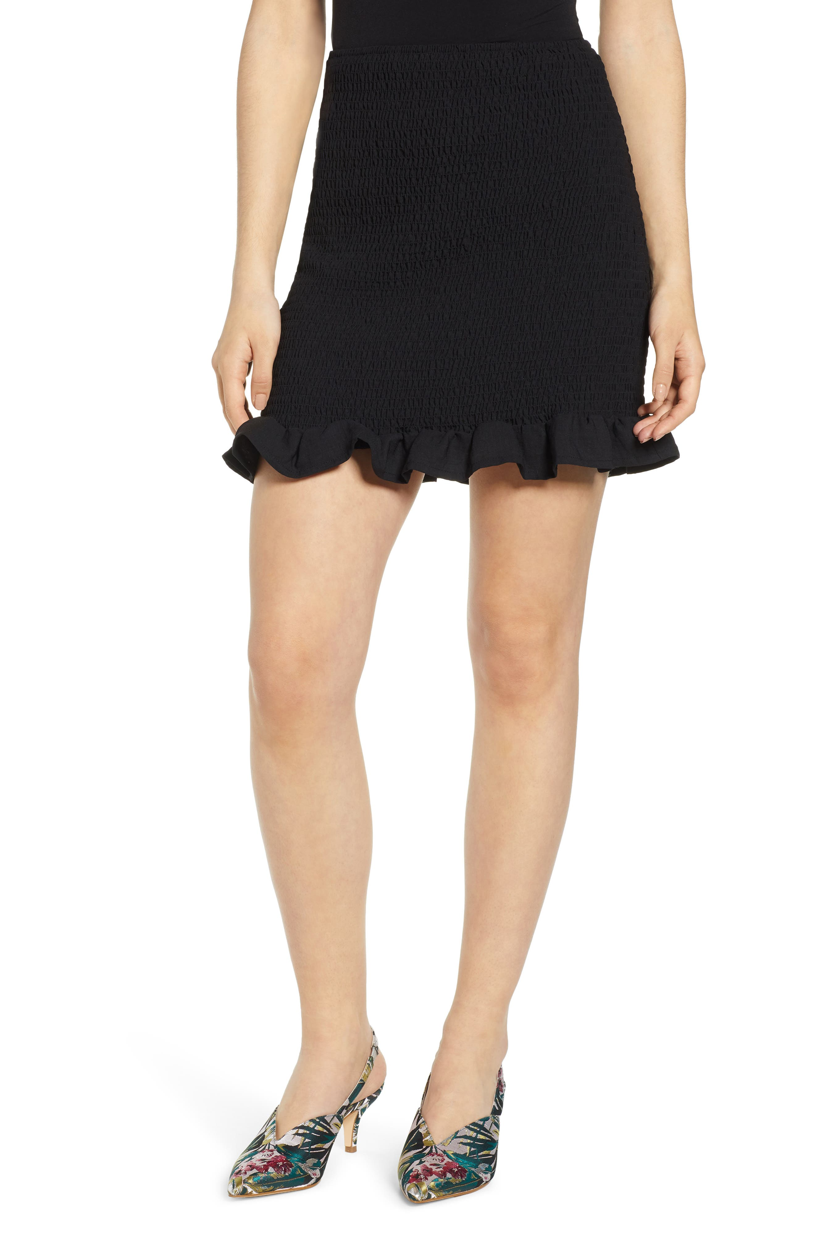 Leith Smocked Skirt, Black