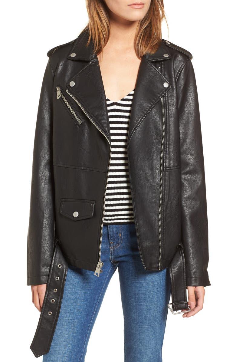 LEVI'S<SUP>®</SUP> Oversize Faux Leather Moto Jacket, Main, color, BLACK