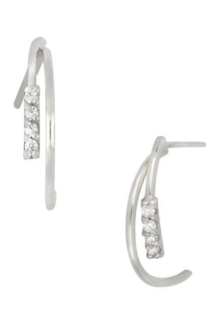 Image of Bony Levy 18K White Gold Pave Diamond Open Huggie Hoop Earrings - 0.06 ctw