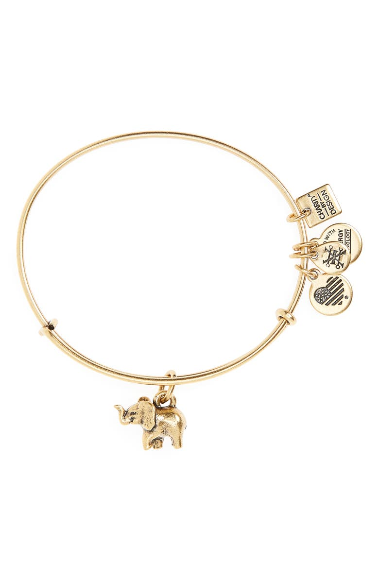 ALEX AND ANI Charity by Design Elephant II Adjustable Bangle, Main, color, GOLD