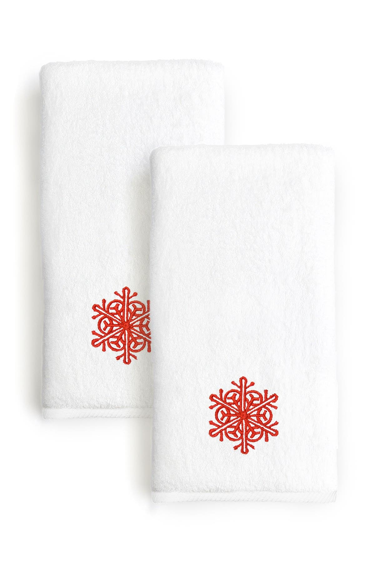 Image of LINUM TOWELS Red Snow Flake Embroidered Hand Towels - Set of 2