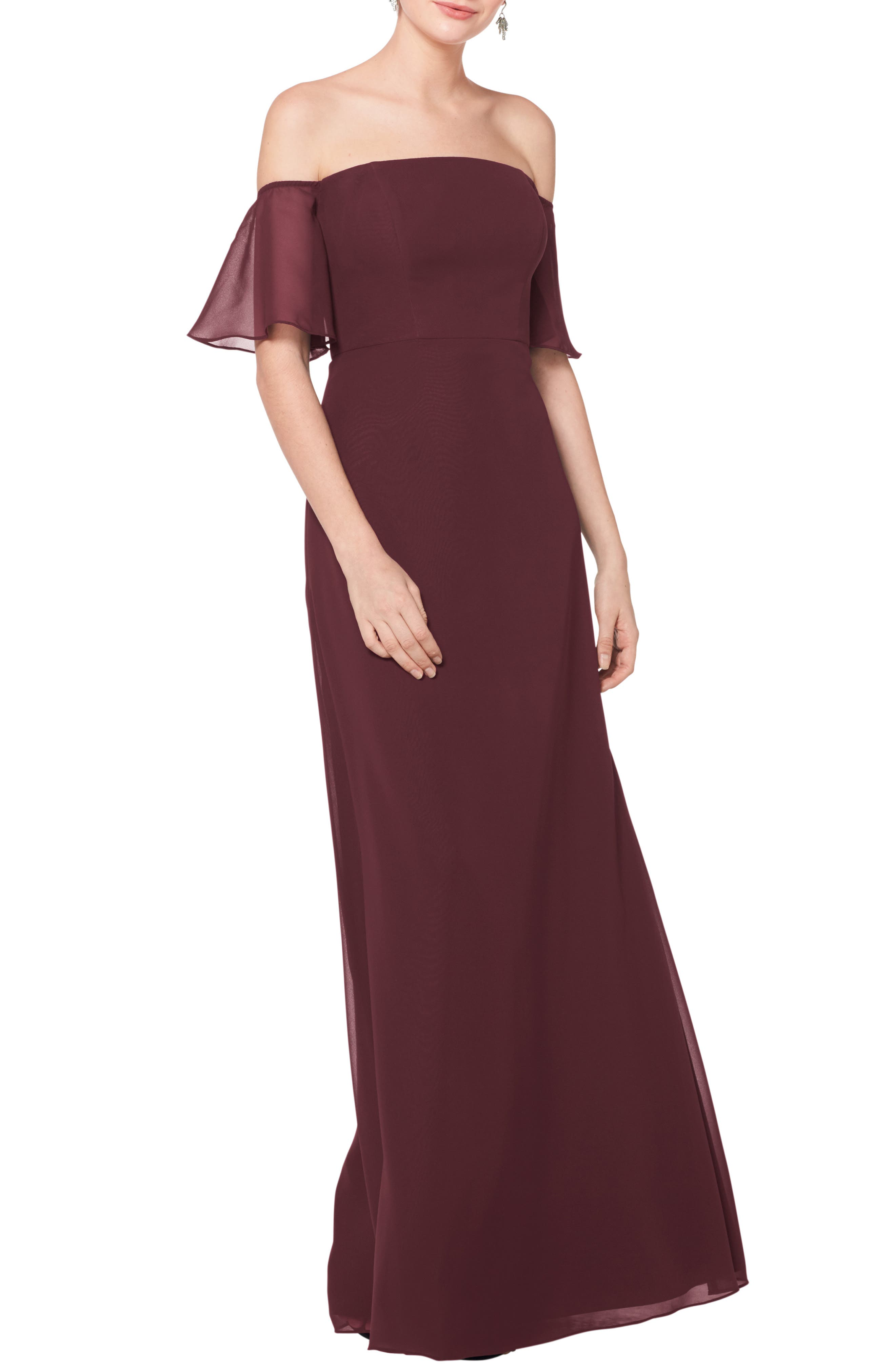 #levkoff Off The Shoulder Fluted Sleeve Chiffon Gown, Burgundy