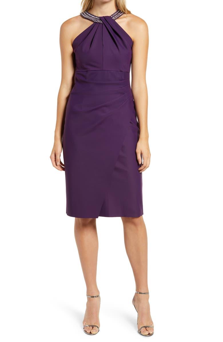 ALEX EVENINGS Embellished Dress, Main, color, SUMMER PLUM