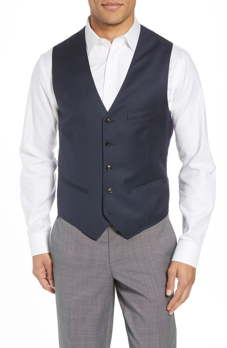 TED BAKER LONDON Troy Slim Fit Solid Wool Vest, Main, color, OLD BLUE