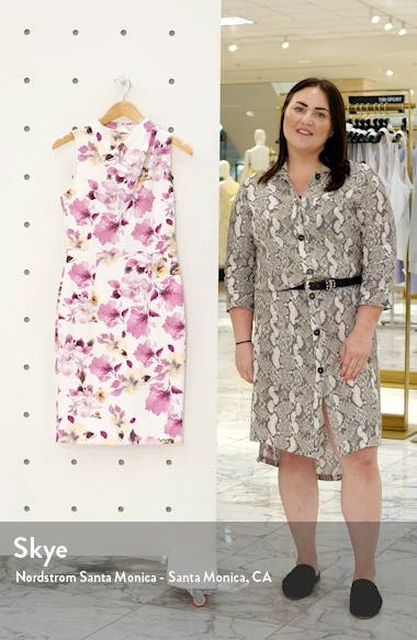 Corrine Floral Drape Neck Sheath Dress, sales video thumbnail