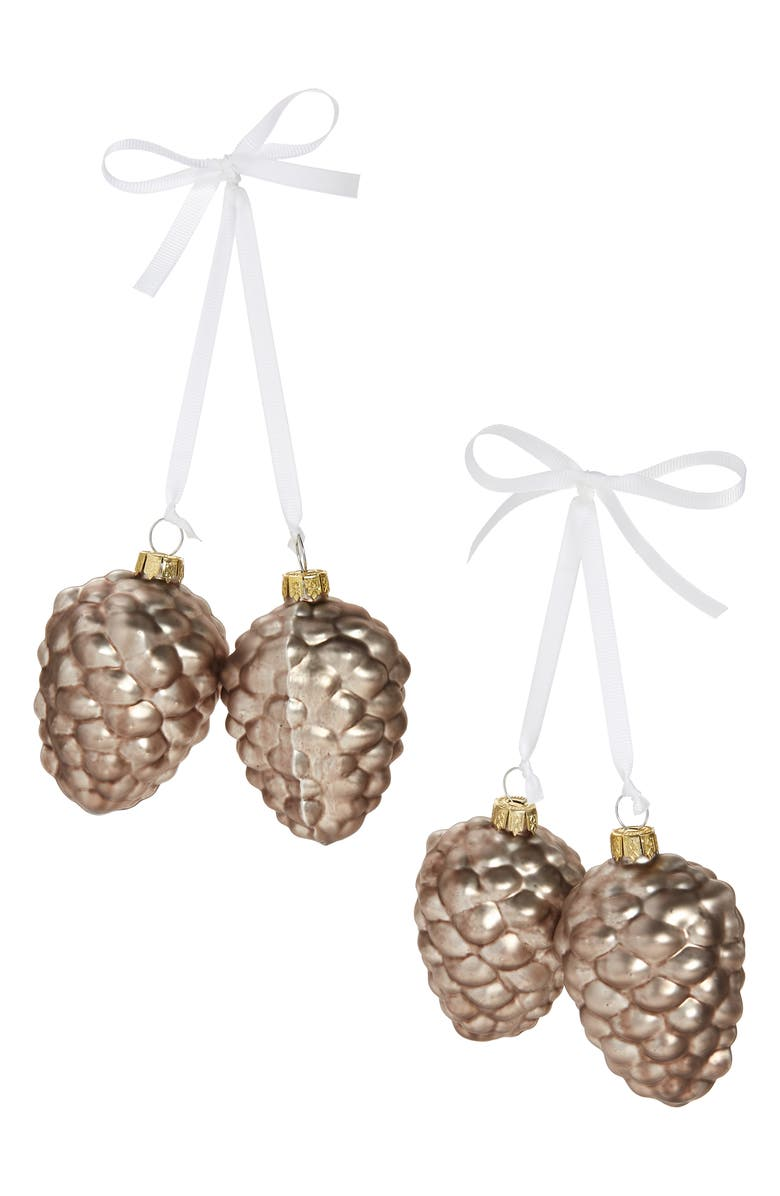 RACHEL PARCELL Set of 4 Glass Pinecone Ornaments, Main, color, METALLIC BUBBLE