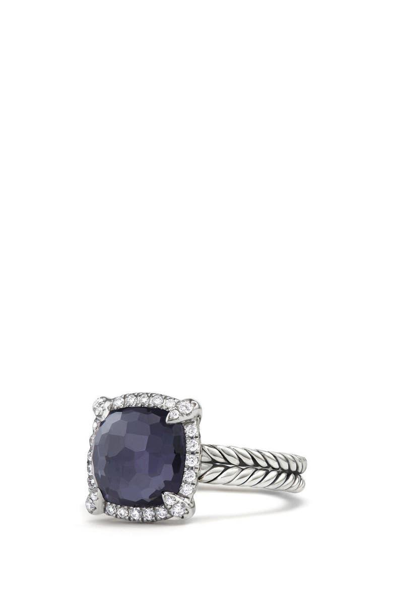DAVID YURMAN Châtelaine Pavé Bezel Ring with Black Orchid & Diamonds, 9mm, Main, color, AMETHYST/ HEMETINE