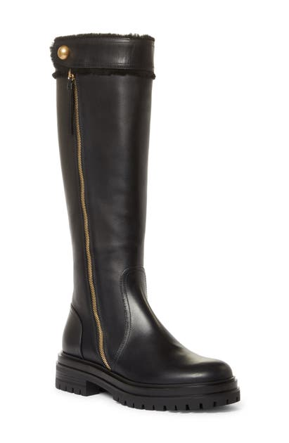 Gianvito Rossi MONTREAL SHEARLING TRIM KNEE HIGH BOOT