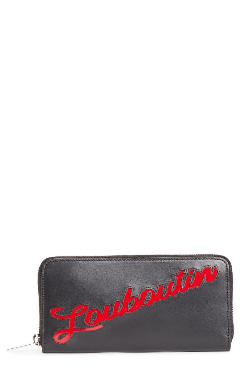 CHRISTIAN LOUBOUTIN Panettone Logo Calfskin Leather Wallet, Main, color, BLACK/ LOUBI