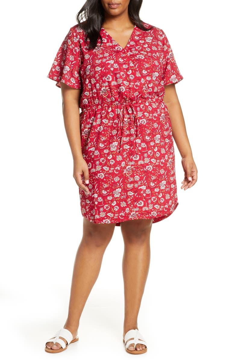 CASLON<SUP>®</SUP> Paisley Print Flutter Sleeve Crepe Dress, Main, color, RED P TECHFOLK PAISLEY PRINT