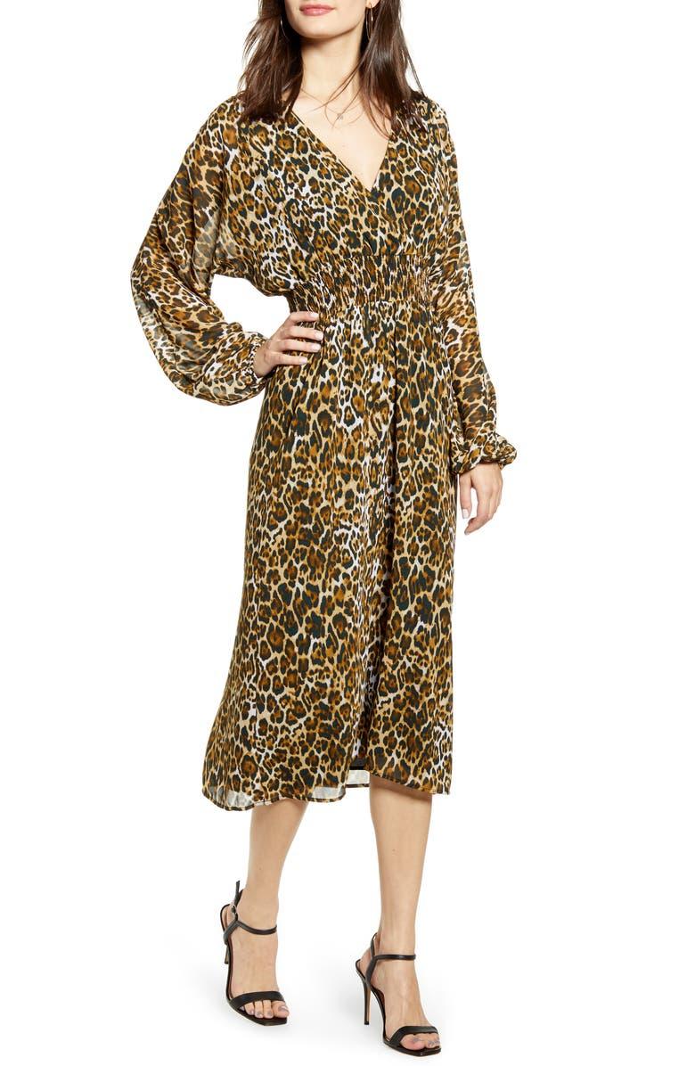 WAYF Gabrielle Leopard Print Dress, Main, color, LEOPARD
