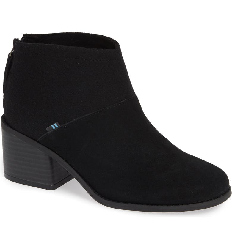 TOMS Lacy Bootie, Main, color, BLACK SUEDE