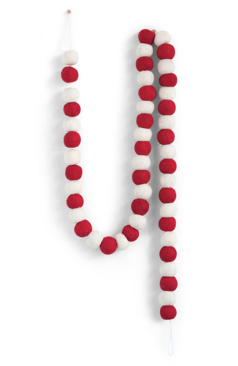 CREATIVE CO-OP Wool Felt Pom Garland, Main, color, RED