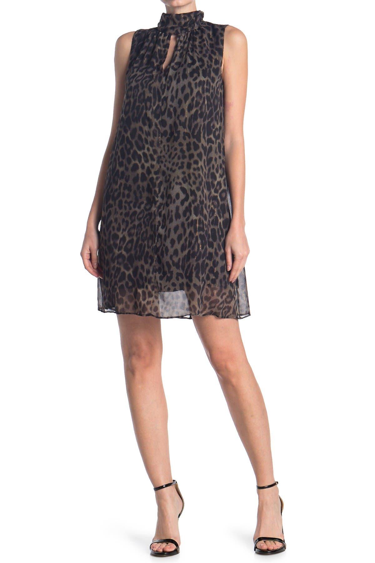Image of London Times Leopard Print High Neck Swing Dress