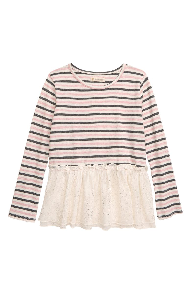 TUCKER + TATE Sparkle Stripe Ruffle Tee, Main, color, 900