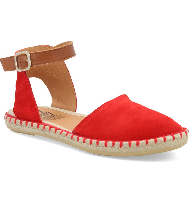 MIZ MOOZ Cleo Ankle Strap Espadrille Flat, Main, color, RED SUEDE