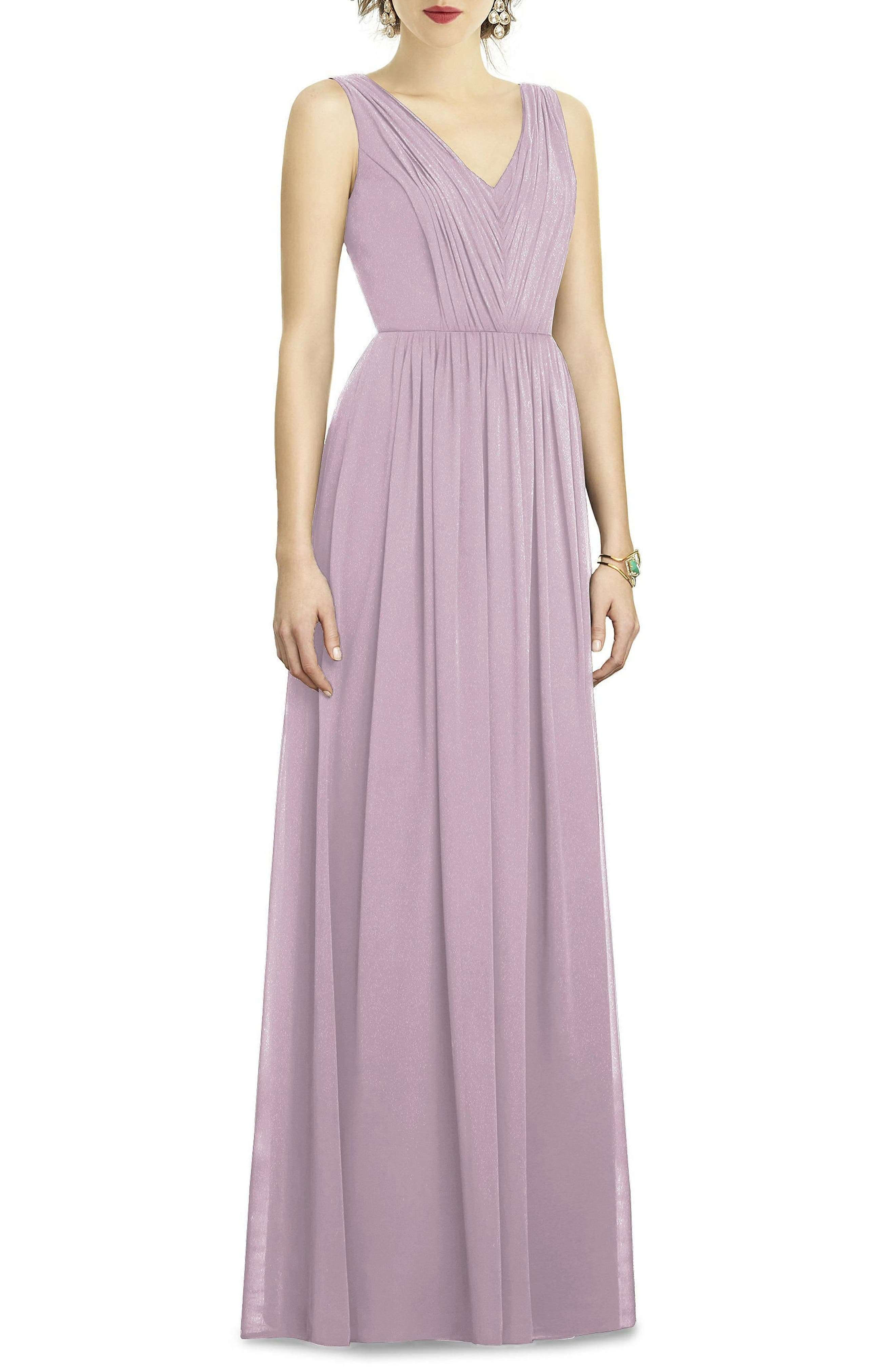 Dessy Collection Shirred Shimmer Chiffon Gown, Purple
