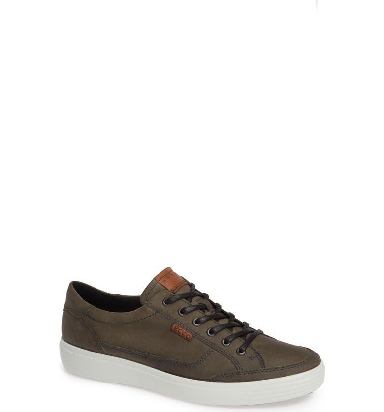 ECCO Soft 7 Long Lace Sneaker, Main, color, WILD DOVE LEATHER