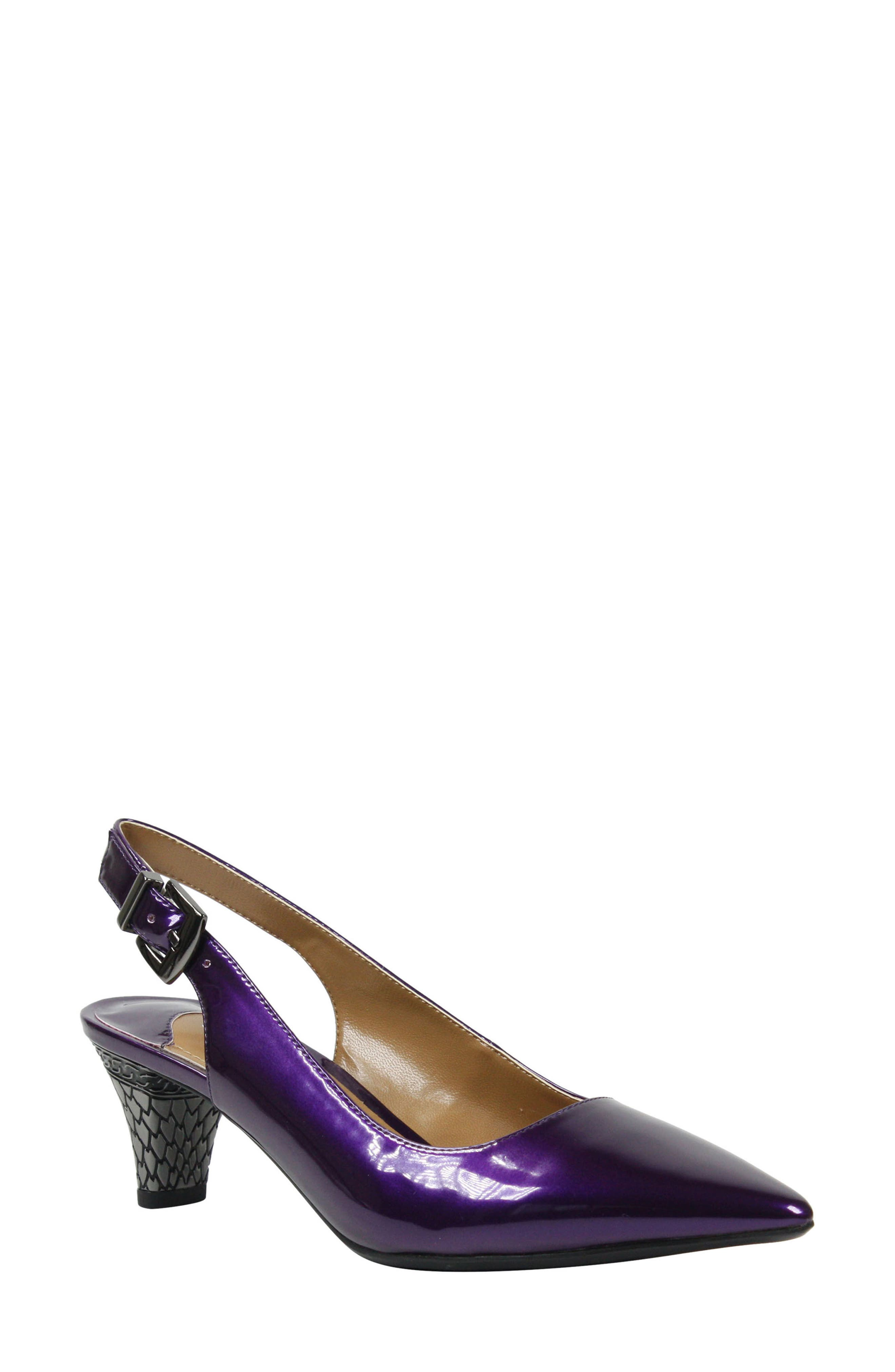 Metallic scales shine from a low, tapered heel, giving lasting-impression Art-Deco flair to a sleek pointed-toe pump. Style Name:J. Renee Mayetta Slingback Pump (Women). Style Number: 5475306. Available in stores.