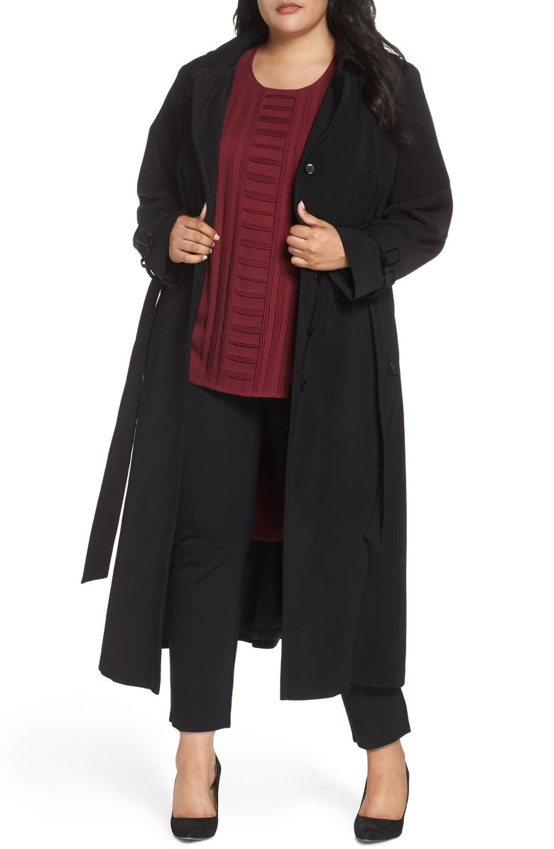 GALLERY Long Nepage Raincoat with Detachable Hood & Liner, Main, color, BLACK