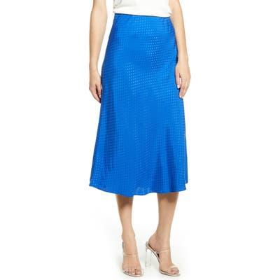 Leith Bias Cut Midi Skirt, Blue