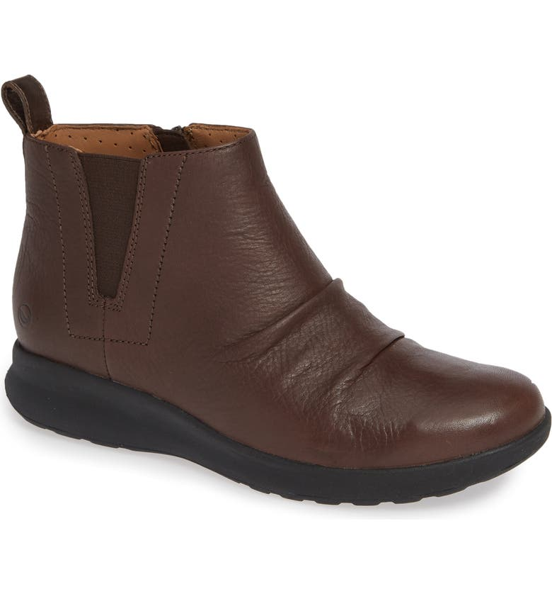 CLARKS<SUP>®</SUP> Un Adorn Mid Bootie, Main, color, DARK BROWN LEATHER