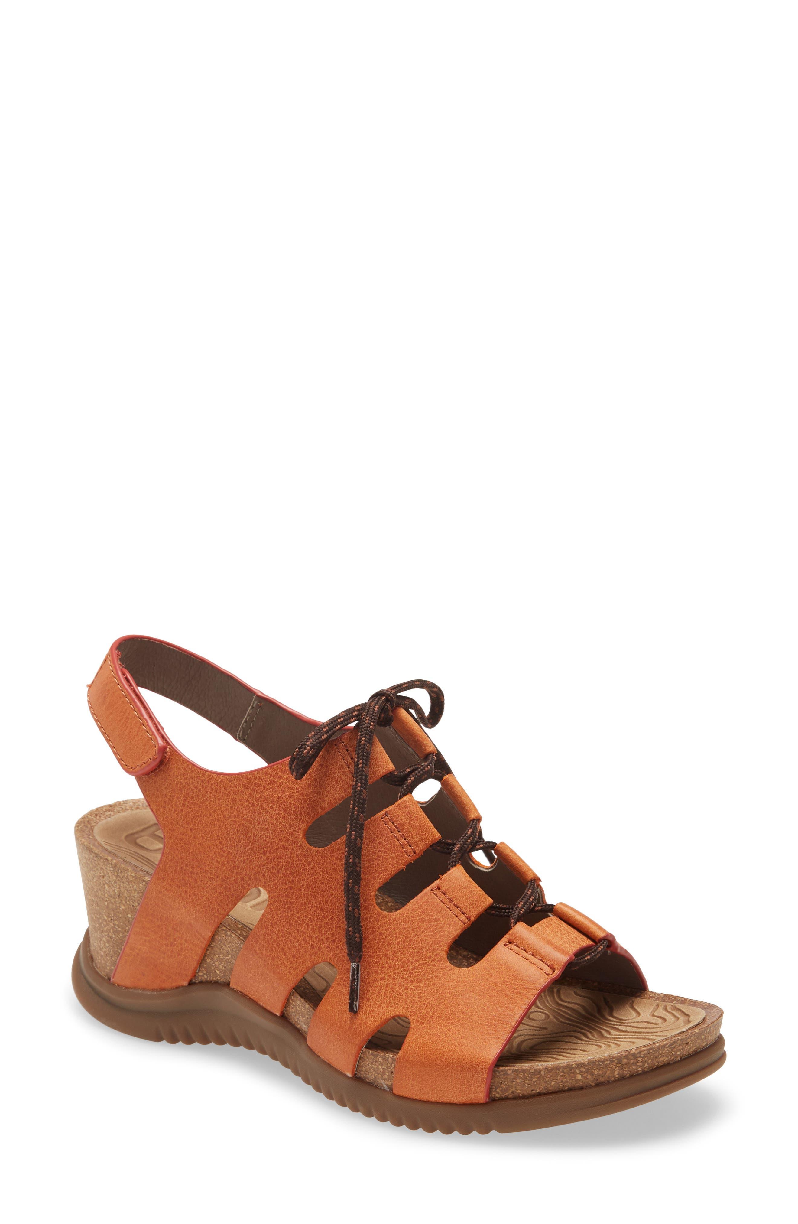 Women's Bionica Sorena Ghillie Wedge Sandal, Size 11 M - Orange