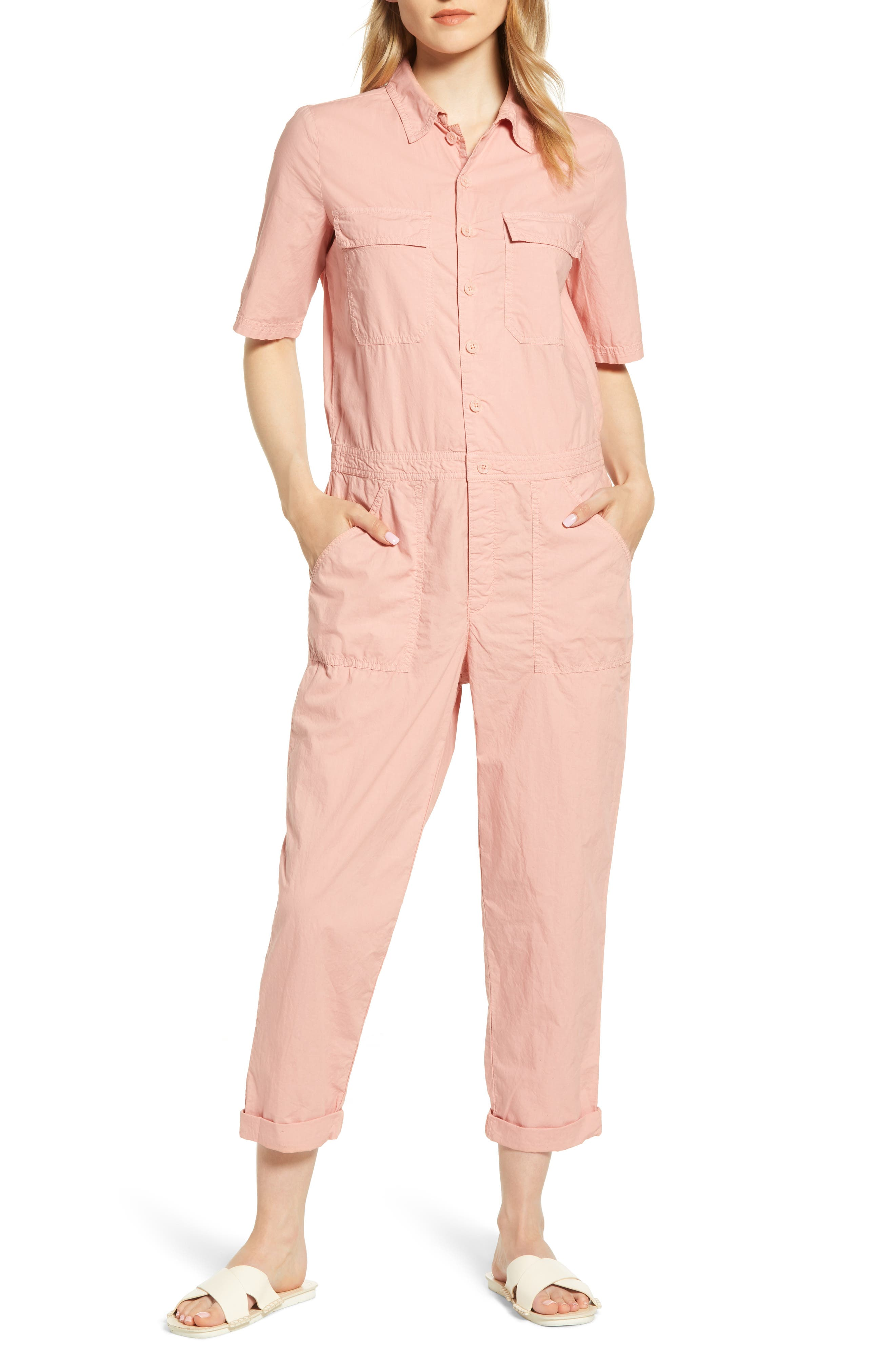 Lou & Grey Poplin Utility Jumpsuit, Pink