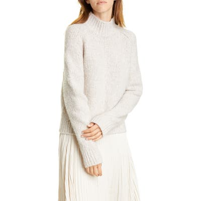 Vince Textured Sleeve Wool, Silk & Cashmere Turtleneck Sweater, Beige
