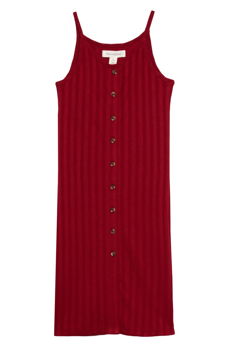 TREASURE & BOND Ribbed Button Front Dress, Main, color, RED RHUBARB
