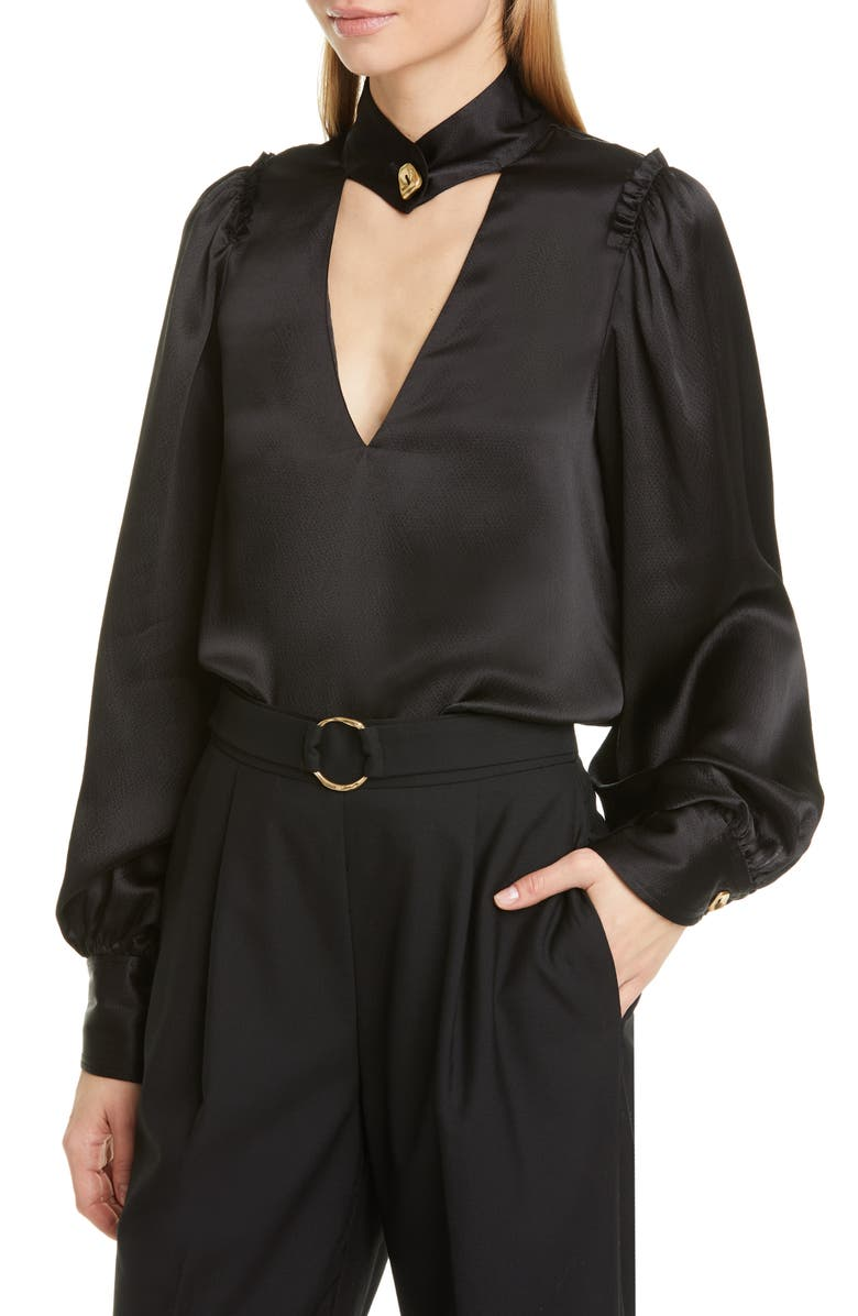 AJE Allegro Cutout Silk Blouse, Main, color, 001
