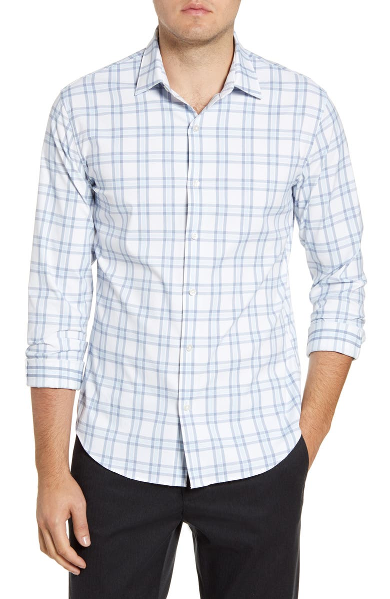 BONOBOS Slim Fit Plaid Button-Up Performance Shirt, Main, color, CHARLES PLAID NAVY PEONY