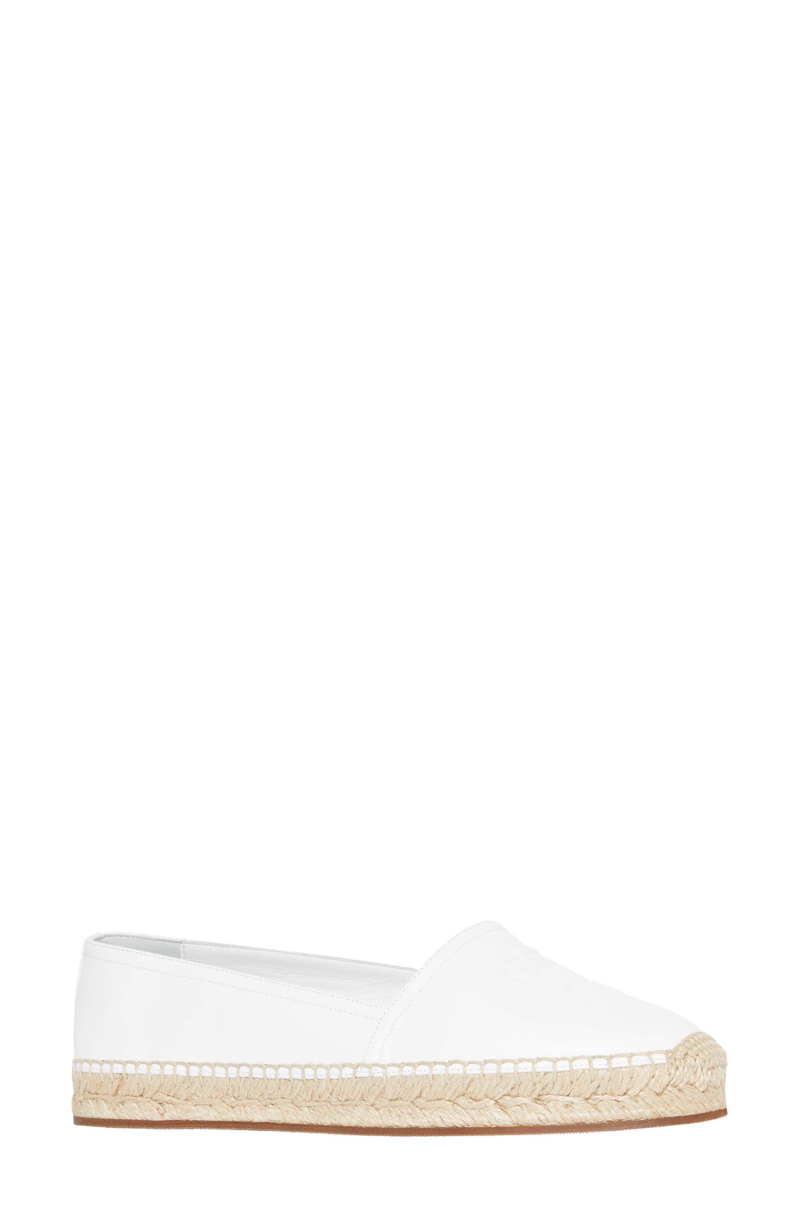 Burberry Tabitha Logo Monogram Espadrille Flat, White