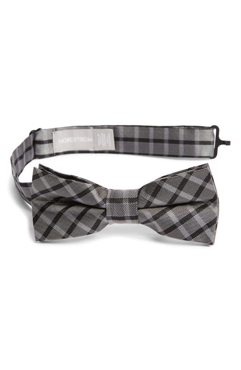 NORDSTROM Lorenzo Plaid Silk Bow Tie, Main, color, BLACK