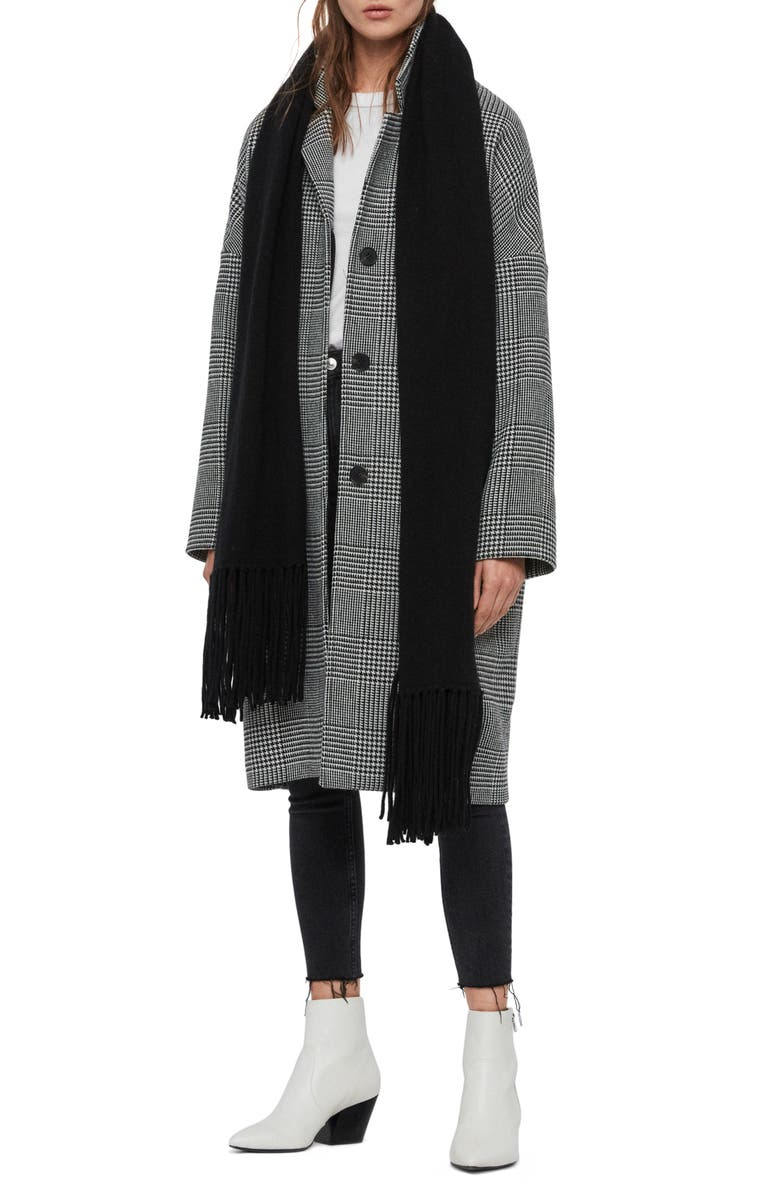 ALLSAINTS Boiled Wool Scarf, Main, color, 001