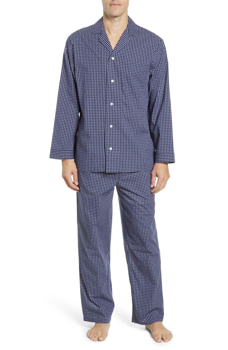 NORDSTROM MEN'S SHOP Poplin Pajama Set, Main, color, NAVY WHITE MINI GRID