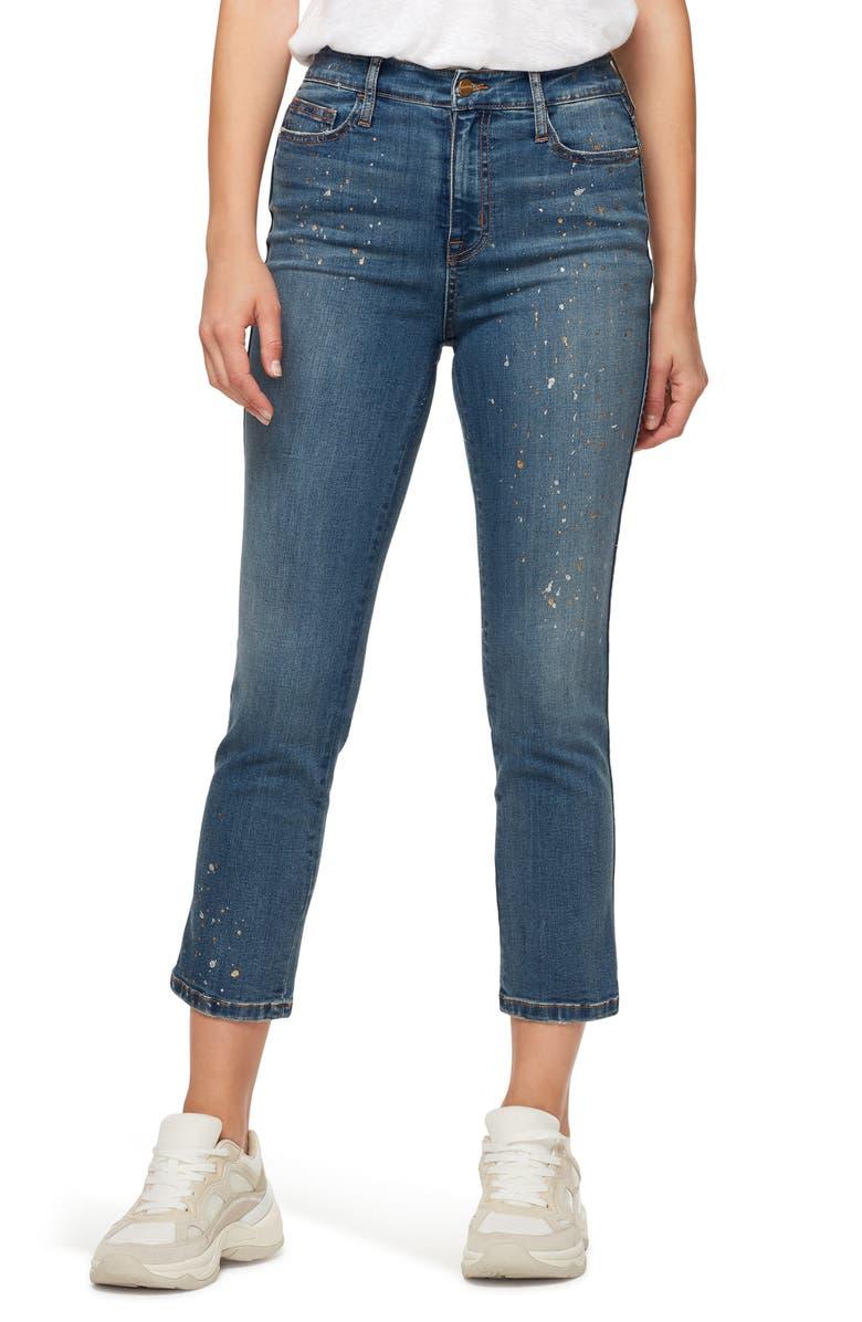 SANCTUARY Modern Standard Metallic Splatter High Waist Crop Jeans, Main, color, 400